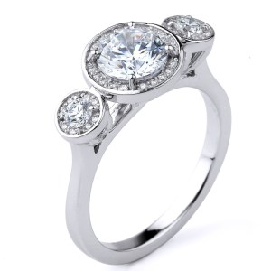 3 Stone Off White Diamond 2Ct Solitaire Halo Engagement Ring 925 Sterling Silver