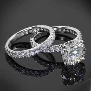 2.68Ct Round Cut Diamond Bridal Set Engagement Ring Set 14K White Gold