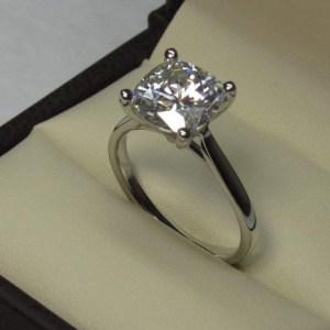 2 Carat Cushion Shape D/VVS1 Diamond 14k White Gold Solitaire Engagement Ring