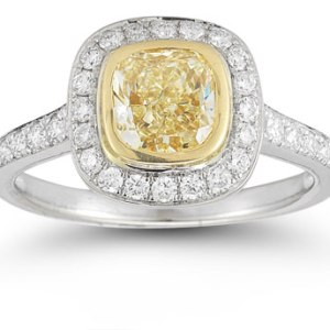1.79Ct Canary Yellow Cushion Diamond Bezel Halo Engagement Ring 925 Sterling Silver