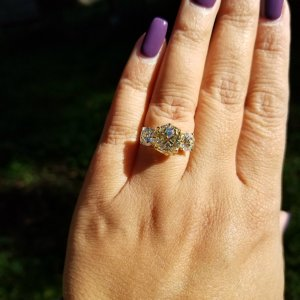 3 Stone Canary Yellow Round Diamond Solitaire Engagement Ring in 14k White Gold 2.50Ct