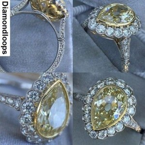 2.00Ct Pear Shape Diamond Halo Engagement & Bridal Ring Party 14k White Gold