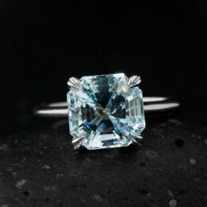 3.20Ct Asscher Light Blue Diamond Solitaire Engagement Wedding Ring 14k White Gold