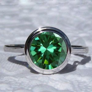 2 Ct Brilliant Green Bezel Diamond Engagement Wedding Ring 925 Sterling Silver