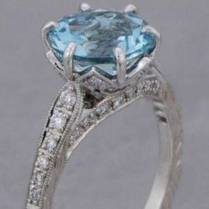 2.80Ct Round Cut Blue Diamond Solitaire Engagement Ring 14k White Gold Over