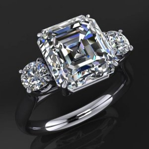 Certified 2.20Ct Asscher Cut Real Moissanite Side Stone Engagement Ring 14k White Gold