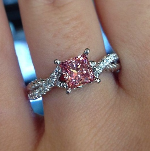 Pink Diamond Ring >> Unique 2 55ct Princess Cut Pink Diamond Luxury Engagement Ring Solid 14k White Gold