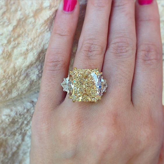 3 15ct Cushion Cut Canary Yellow Diamond Engagement Ring 14k White Gold Over
