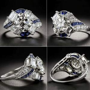 Art Deco 1.88Ct Real Round Moissanite Vintage Engagement Ring Solid 14k White Gold