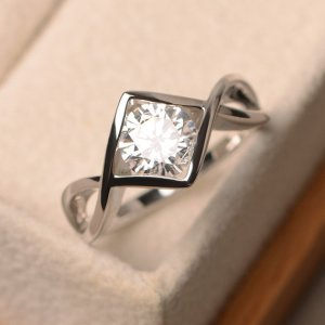 1.60Ct Round Cut Moissanite Fancy Engagement Promise Ring Real 14k White Gold Over