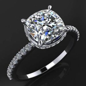 Certified 2.30Ct Cushion Cut Real Moissanite Solitaire Engagement Ring 14k White Gold