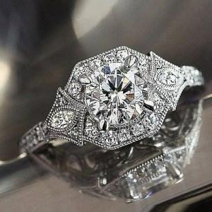 Art Deco 1.80Ct Round Cut Moissanite Luxury Best Engagement Ring 14k White Gold Over