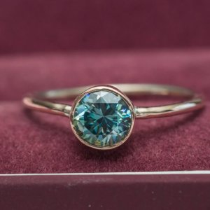2.Carat Bezel Round Cut Blue Diamond Engagement Wedding Ring Solid 14k Rose Gold