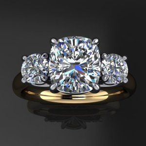 2.60Ct Cushion Cut & Side Round Moissanite Engagement Ring Solid 14k Yellow Gold