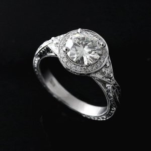 2.00Ct Round Cut Brilliant Moissanite Diamond Engagement Ring Solid 14k White Gold