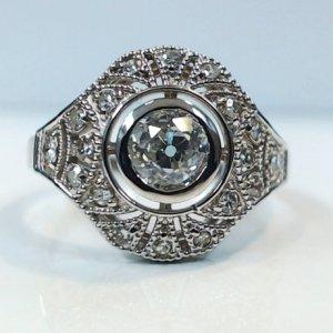 1.Ct Bezel Round Cut Moissanite Art Deco Engagement Ring Real 14k White Gold Over