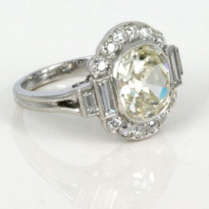 2.00Ct Off White Cushion Cut Moissanite Bezel Set Engagement Ring Solid 14k White Gold
