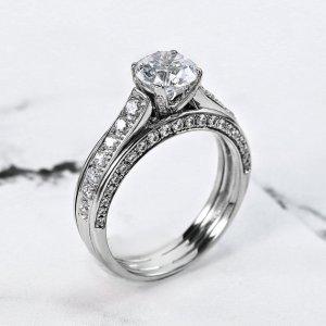 1.60Ct Round Cut Moissanite Diamond Wedding Engagement Ring 14k White Gold