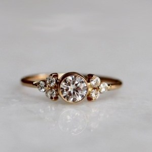 1.88Ct Bezel Round Cut Moissanite Side Stone Engagement Ring Solid 14k Rose Gold