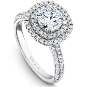 1.68Ct Round Cut Real Moissanite Double Halo Engagement Ring Solid 14k White Gold