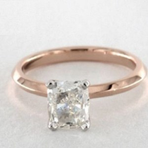 2.25Ct Cushion Cut Real Moissanite Solitaire Engagement Ring Solid 14k Rose Gold