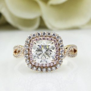 1.77Ct Cushion Cut Real Moissanite Double Halo Engagement Ring Solid 14k Yellow Gold