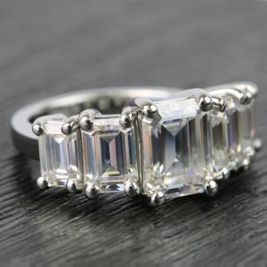 5 Stone 2.13Ct Emerald Cut Moissanite Classic Engagement Ring Solid 14k White Gold