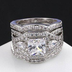 2.00Ct Princess Cut Moissanite Best Engagement Ring Wedding 2 Set Solid 14k White Gold