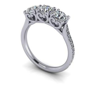 2.30CT Brilliant Cut Moissanite 3 stone With Accent Engagement Ring Solid 14k White Gold