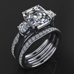 2.34Ct Asscher Cut & Side Round Cut Real Moissanite Engagement 3Pcs Ring Solid 14k White Gold