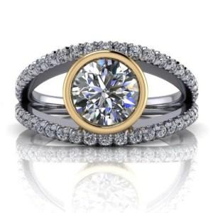 1.88Ct Round Cut Moissanite Bezel Set Engagement Ring Solid 14k White Gold