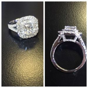 1.60Ct Princess Cut Moissanite Double Halo Wedding & Engagement Ring Real 14k White Gold