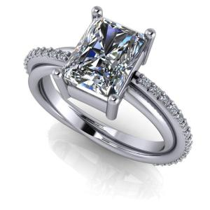 2.37Ctw Radiant Cut Real Moissanite Unique Engagement Ring Solid 14k White Gold