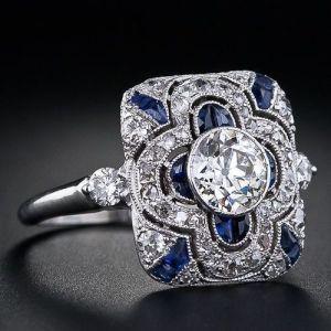 Art Deco 1.50Ct Bezel Set Round Cut Moissanite Engagement Ring 14k White Gold Over