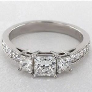 2.13Ct Princess Cut Brilliant Moissanite 3 Stone Engagement Ring Real 14k White Gold