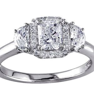 1.83Ct Radiant Cut Real Moissanite Halo Engagement Ring Solid 14k White Gold