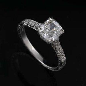 2.Carat Cushion Cut Moissanite Solitaire Wedding Engagement Ring 14k White Gold