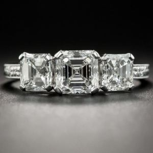 Unique 2.10Ct Asscher Cut Moissanite 3 Stone Engagement Ring Solid 14k White Gold