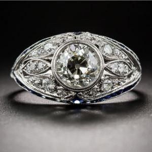 1.83Ct Round Cut Off White Moissanite Bezel Set Engagement Ring 14k White Gold