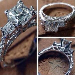 2.17Ct Three Stone Princess Cut Moissanite Fancy Engagement Ring 14k White Gold