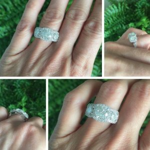 2.14Ct Cushion Cut & Side Round Cut Moissanite Halo Engagement Ring 14k White Gold