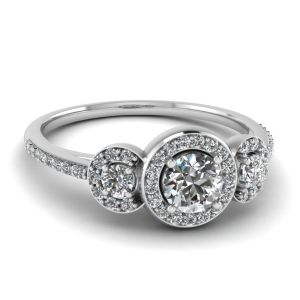 2.00Ct Round Three Stone Moissanite Halo Engagement Ring 14k White Gold