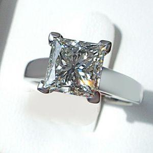 2.50Ct Princess Cut White Diamond Classic Wedding Ring 14k White Gold