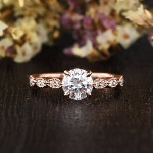 1.83Ct Round Cut Forever One Moissanite Engagement Ring Rose Gold