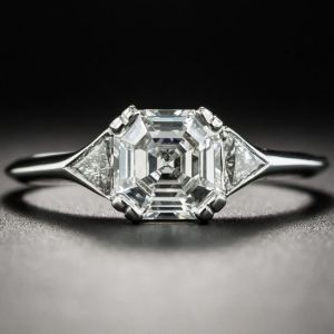 2.65Ct Asscher Cut Real Moissanite Side Trillion Fancy Engagement Ring solid  14k White Gold