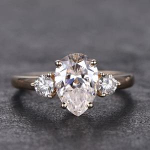 3.35Ct Pear Cut White Diamond Side Round Stone Solitaire Bridal Engagement Ring 14k Rose Gold