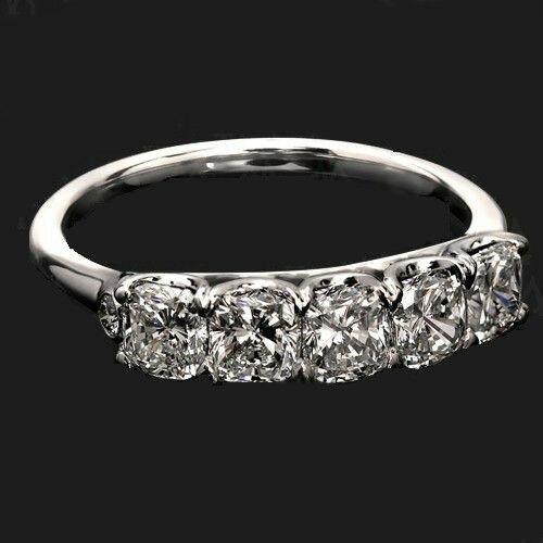e089d42c9ad30 3.50Ct Cushion Cut White Diamond 5 Stone Beautiful Engagement Ring Real 14k  White Gold