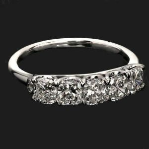 3.50Ct Cushion Cut White Diamond 5 Stone Beautiful Engagement Ring Real 14k White Gold