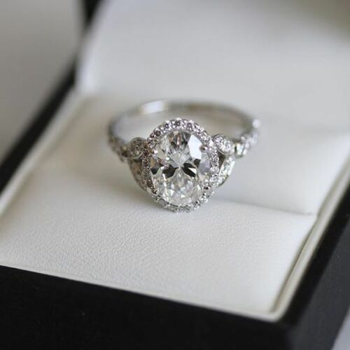 2.00ct Oval Cut Diamond Halo Engagement Ring 14k White Gold Finish