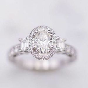 2.80Ct Brilliant Oval Cut Diamond Side Stone Classic Engagement Ring 14k White Gold